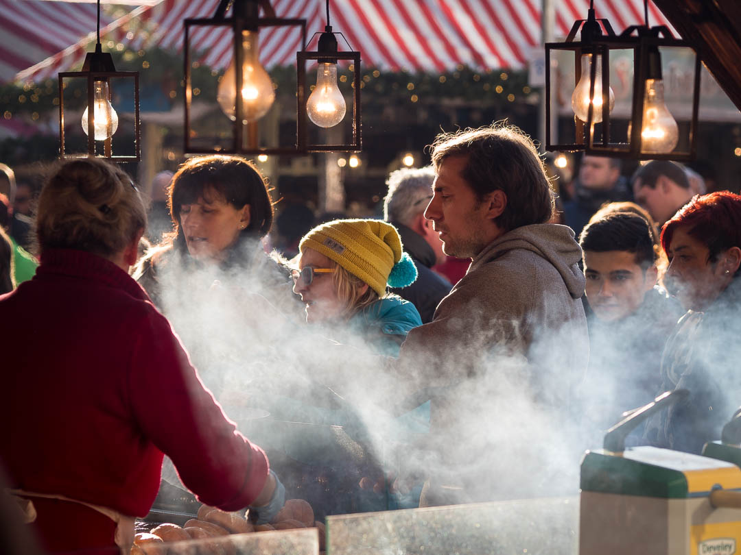Bratwurst on the Christkindlesmarkt in Nuremberg Germany