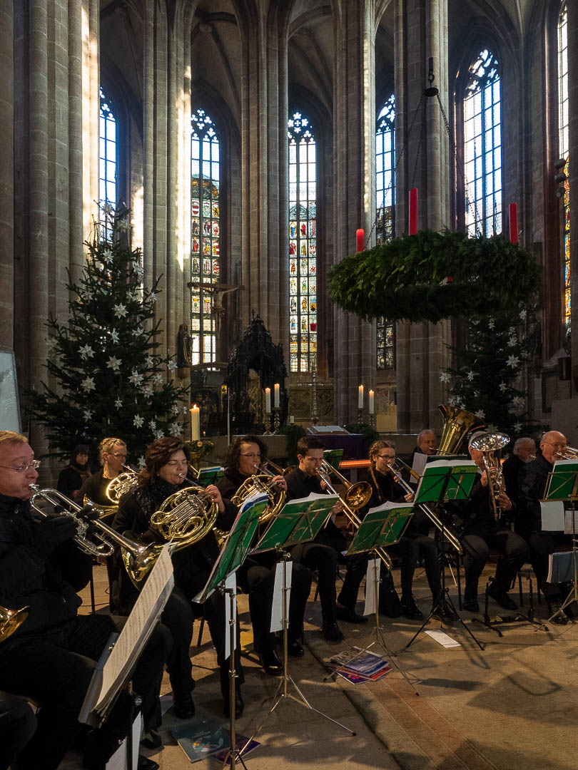 Trombone Choir playing a concert in St. Sebald