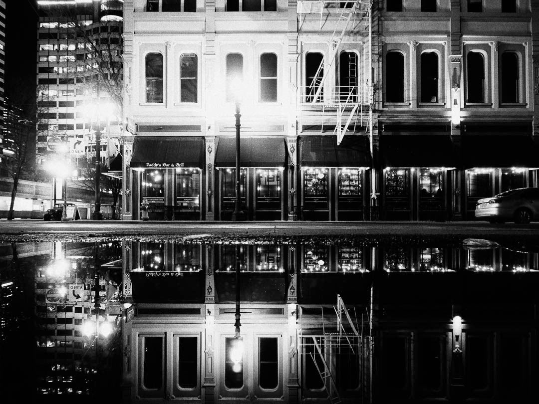 Portland Monochrome Night Steet Photography