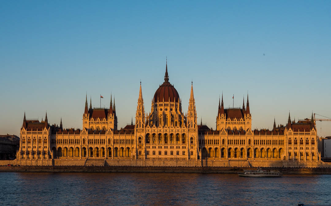 Hungarian Parliament glowing orange at sunset