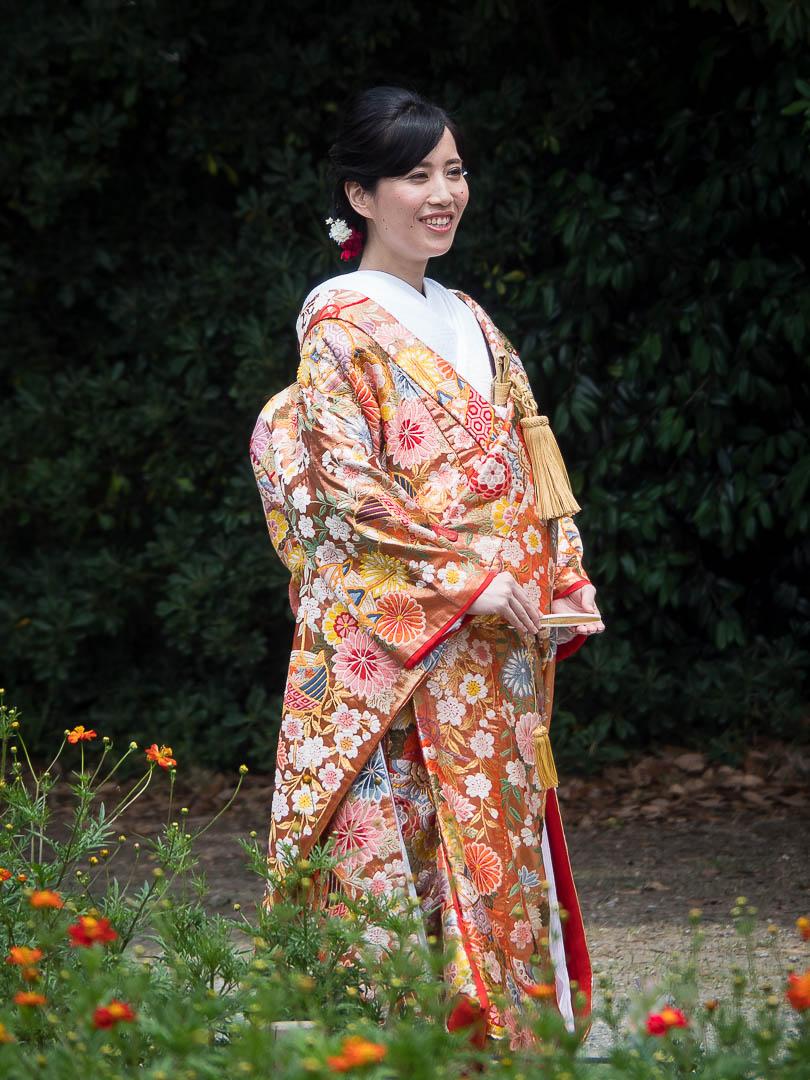 Bride dressed in a Kimono