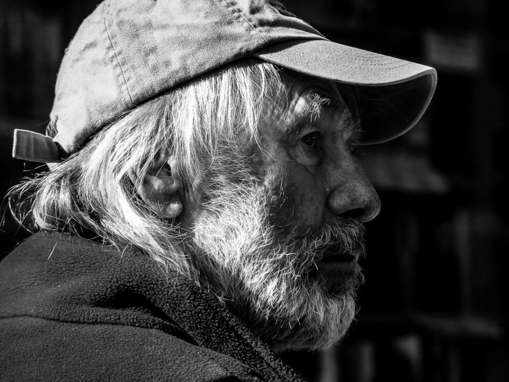 Street Portrait of a bearded old man