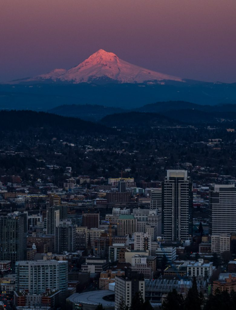 Mount Hood's summit glowing red after the sunset