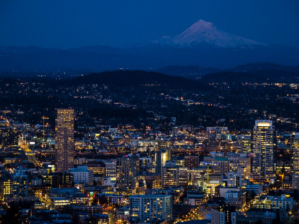Illuminated downtown Portland and Mount Hood in the Blue Hour