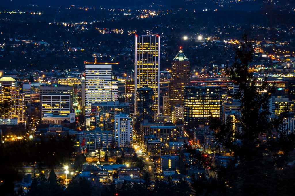 Downtown Portland Oregon by night