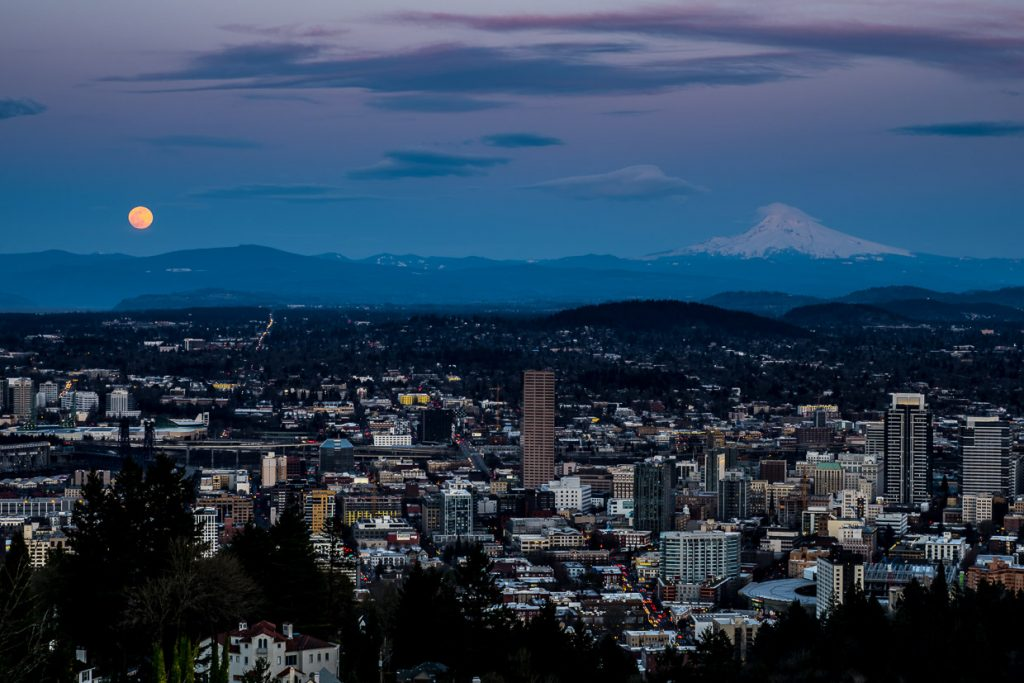 March 20 Super Moon rises behind Portland and Mount Hood