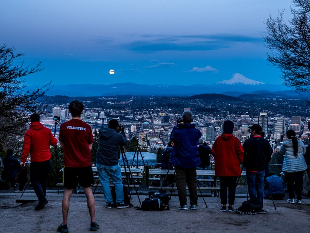 Photographers watching the Super Moon rising in Portland