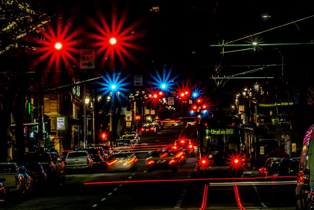 Light trails of cars and starburst traffic lights on the Streets of Portland