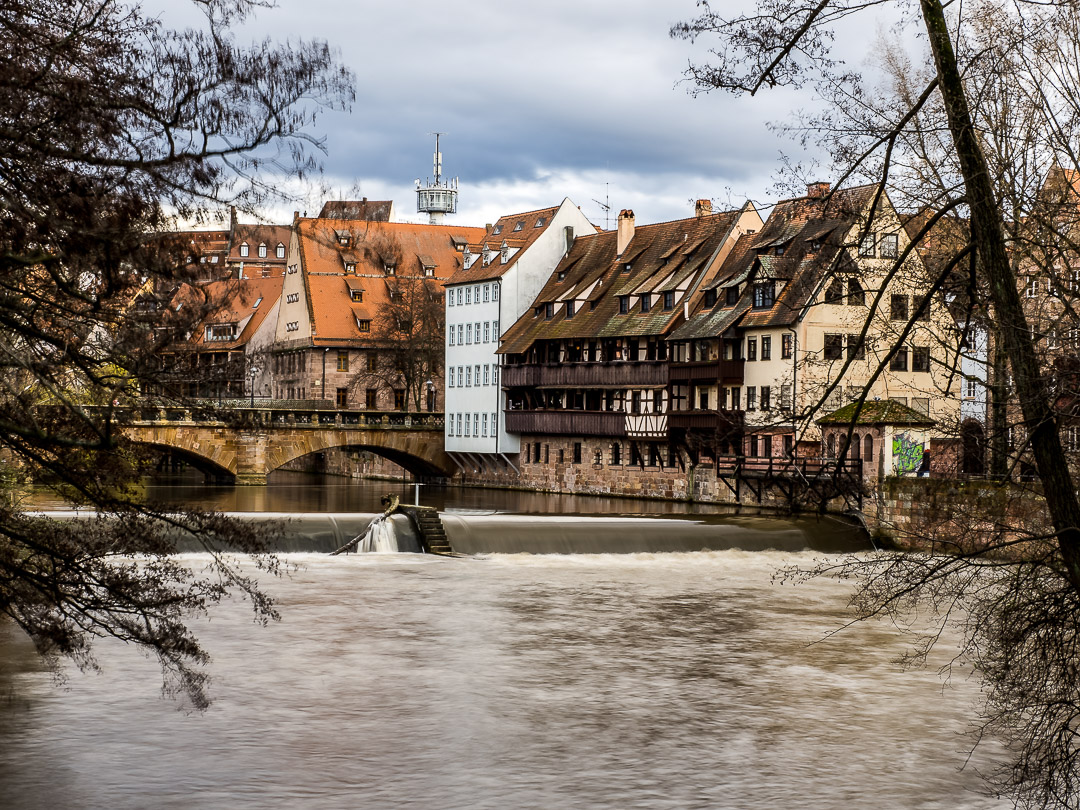 Nuremberg's historic old town behind the Pegnitz river