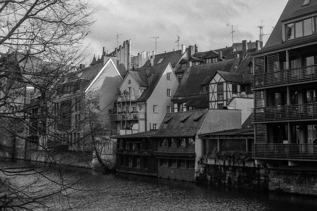 Pegnitz River in Old Town in Nuremberg