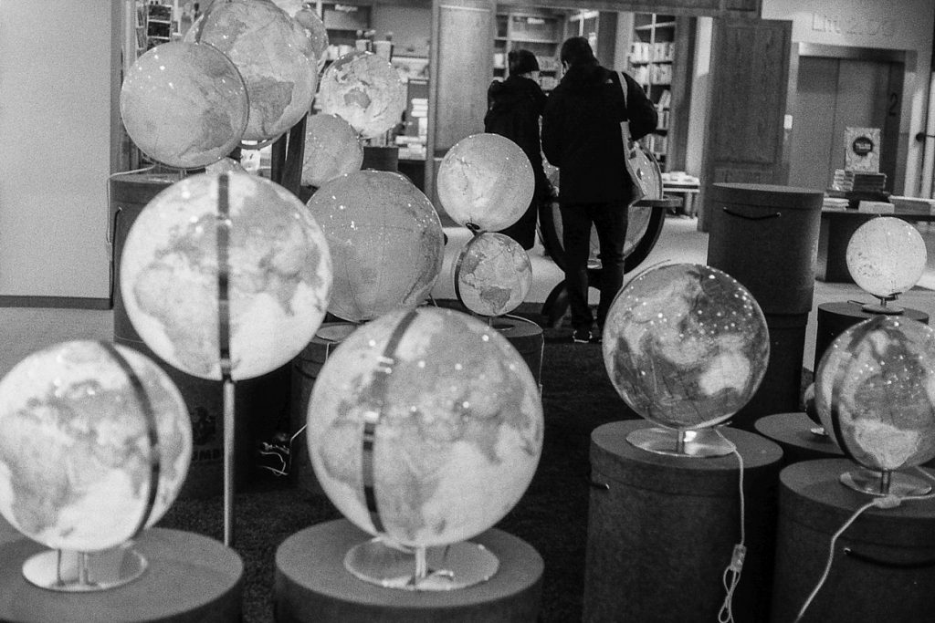 globes in a bookstore