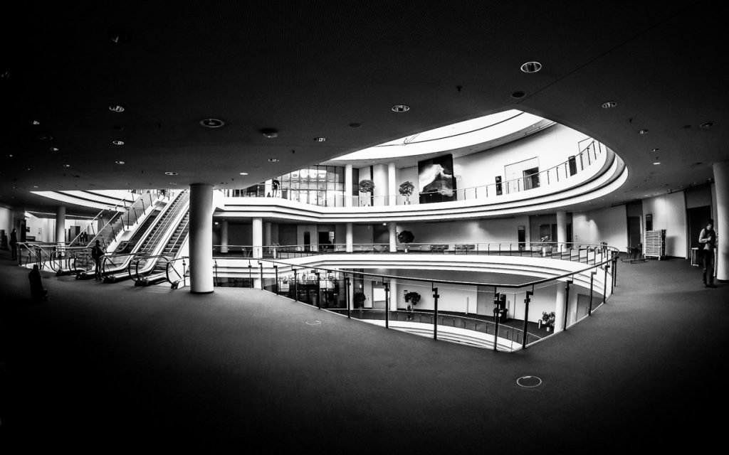 Monochrome Fisheye photo of NürnbergMesse conference center