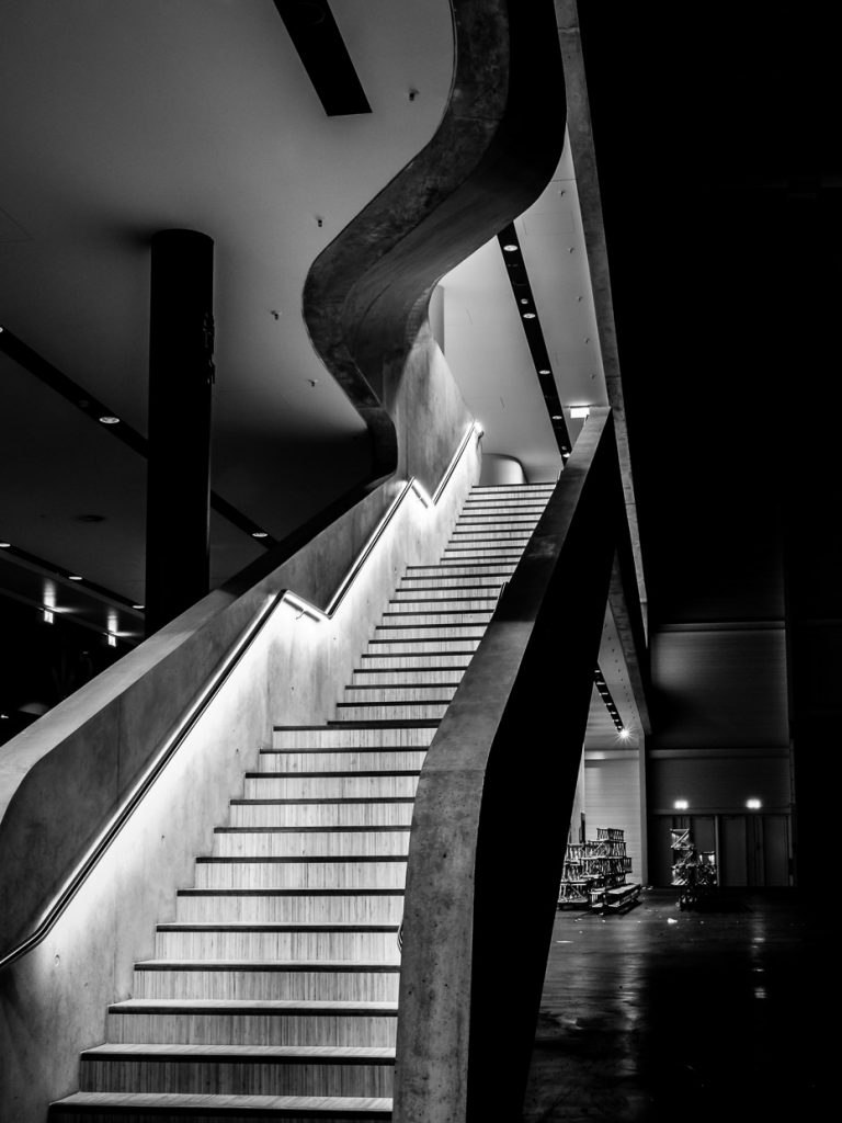 Monochrome photo of a staircase