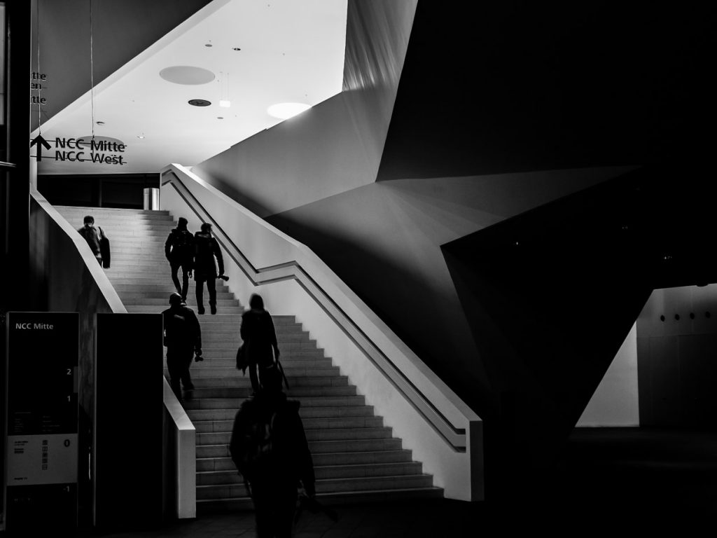 Monochrome photo of a staircase designed by Zaha Hadid