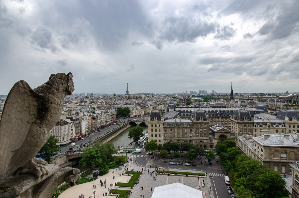 Views of Palais de Justice from the towers of Notre Dame de Paris