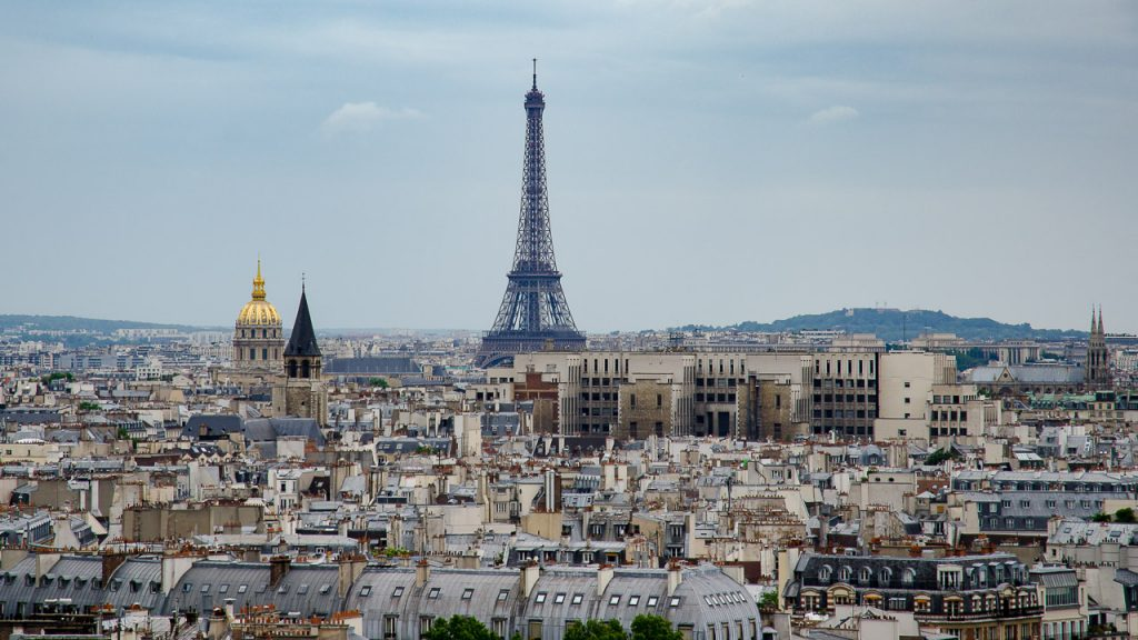 Dome des Invalides and Eiffel Tower from the towers of Notre Dame de Paris