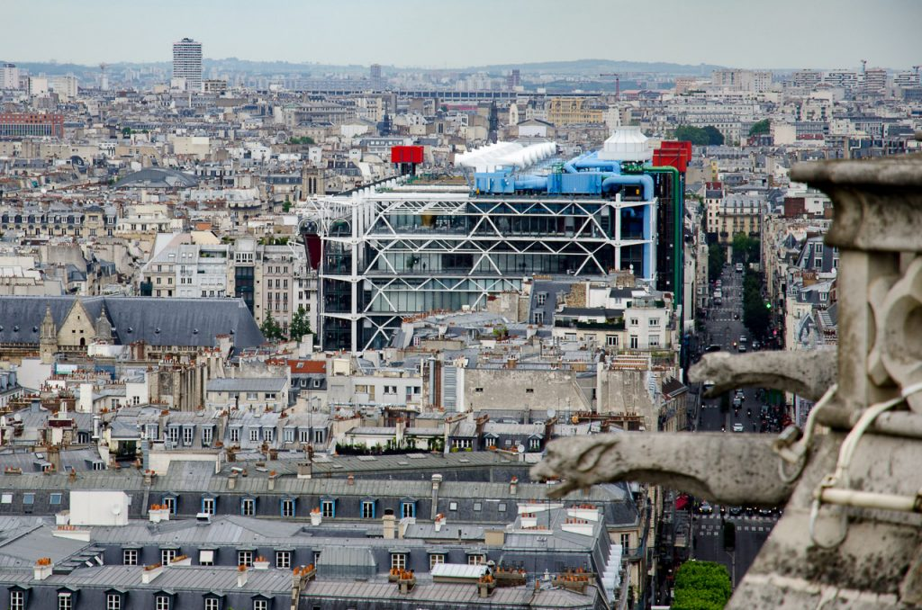 Centre Pompidou Paris seen from the towers of Notre Dame de Paris