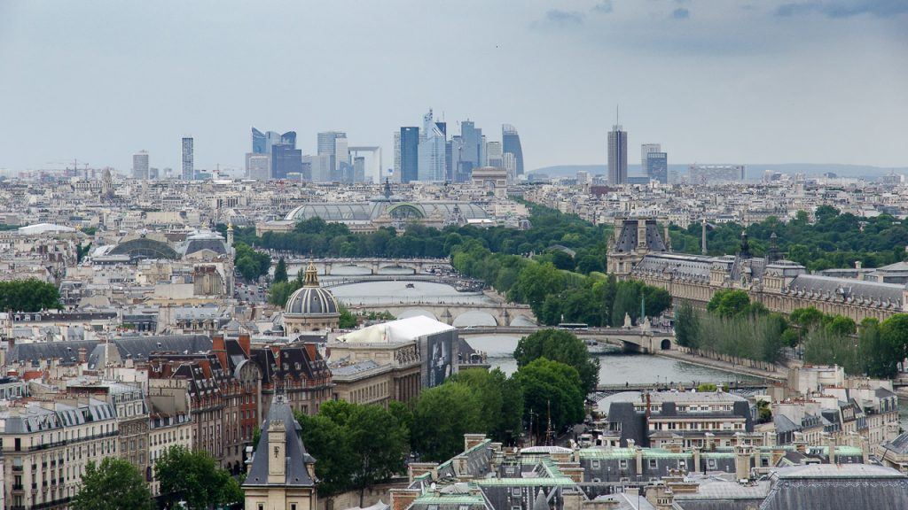 La Defense and Louvre seen from the towers of Notre Dame de Paris