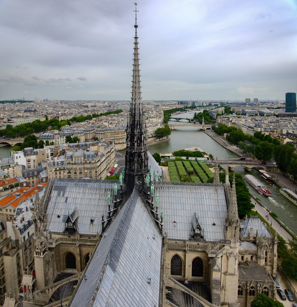 The lost roof and spire of Notre Dame de Paris