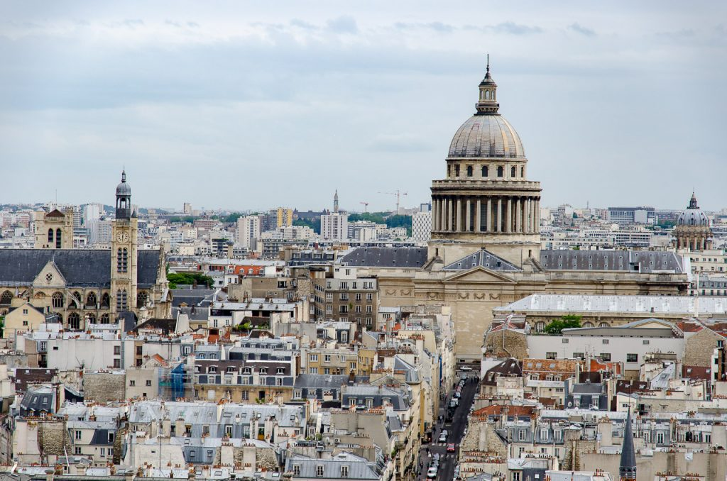 View of Pantheon from the towers of Notre Dame de Paris