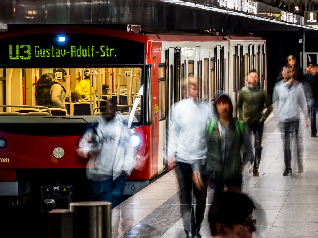 Motion blurred passengers exiting a subway in Nuremberg