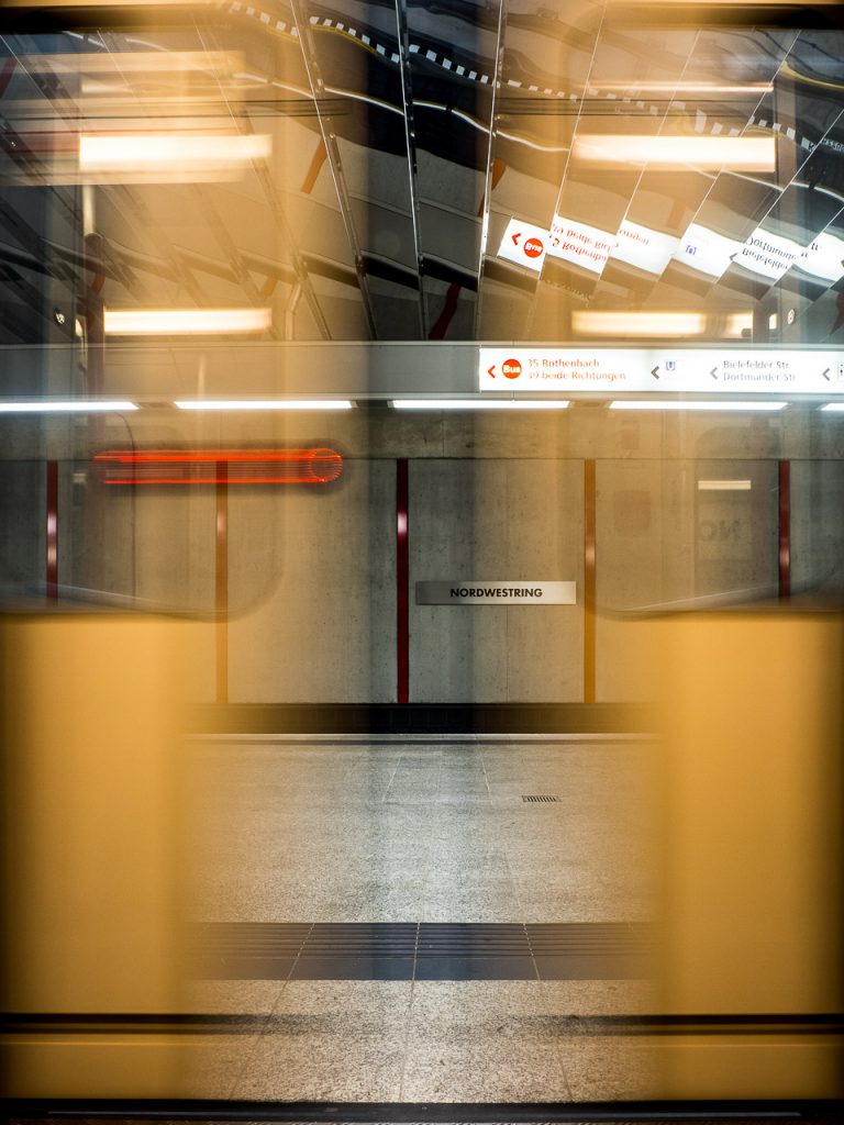 Motion blur view of closing doors in Nuremberg subway