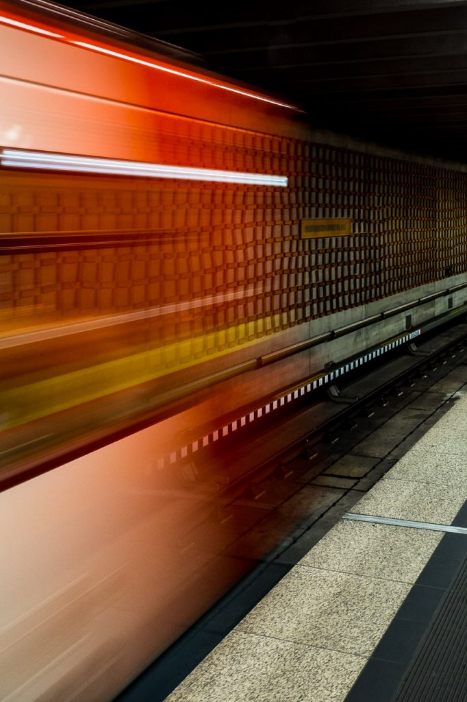 Motion blur view of Nuremberg subway