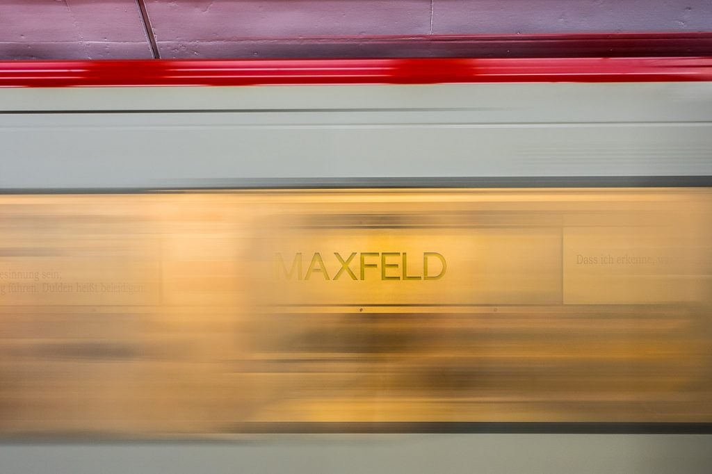 Motion blur view of Nuremberg subway at Maxfeld Station