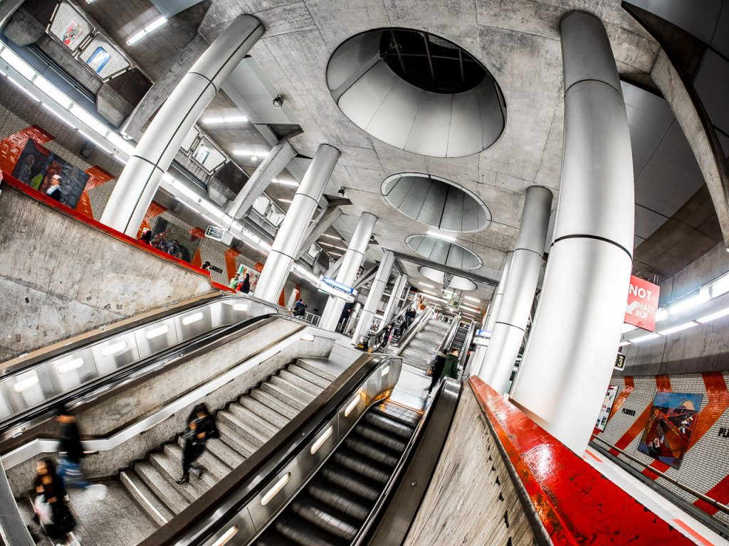 Fisheye view of Plärrer Subway Station Nuremberg