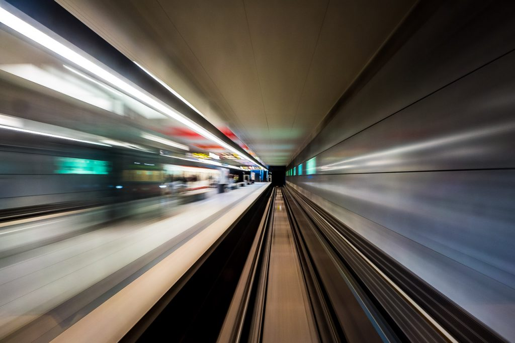 Motion blur view of a subway station in Nuremberg