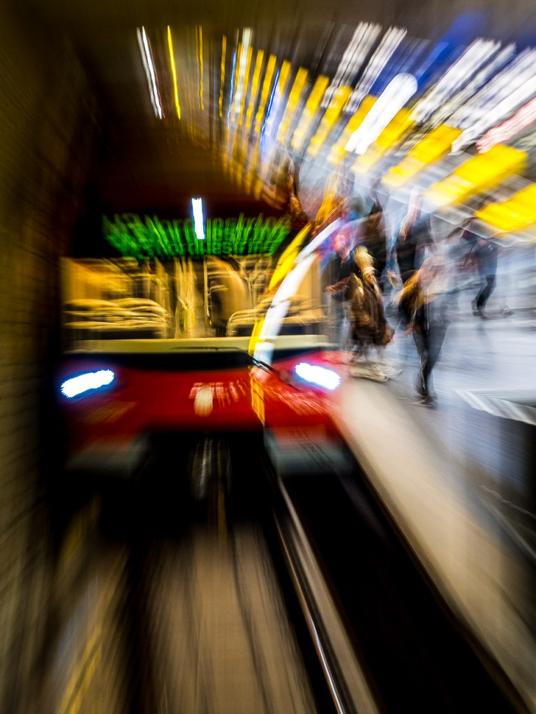 Motion blur view of passengers exiting a subway in Nuremberg