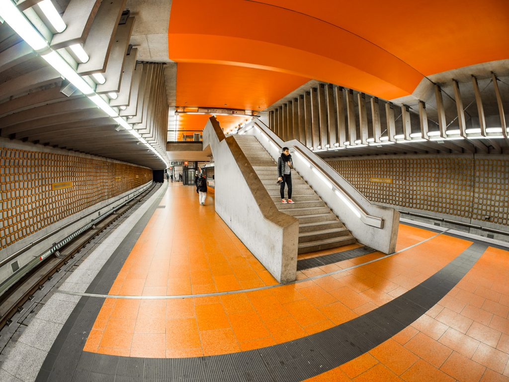 Fisheye view of Friedrich-Ebert-Platz Subway Station Nuremberg