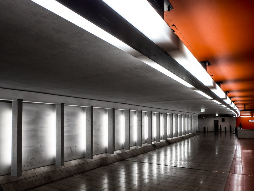Architectural shot of Friedrich-Ebert-Platz subway station in Nuremberg