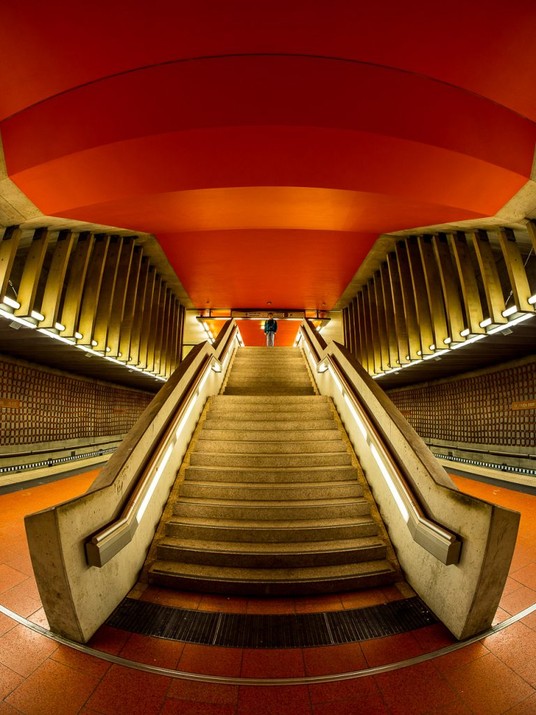 Fisheye view of Friedrich-Ebert-Platz Subway Station in Nuremberg
