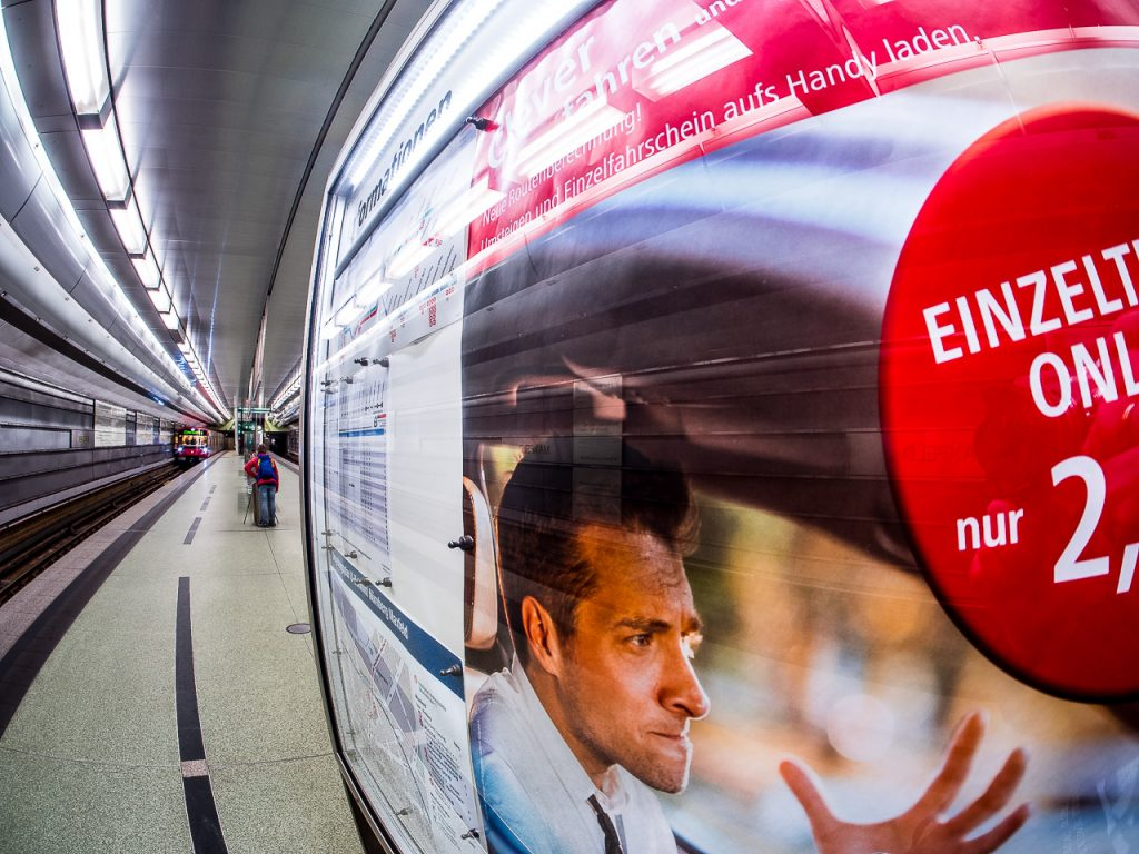 Fisheye view of a Subway Station with incoming train in Nuremberg