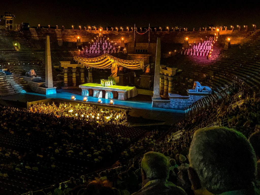 Night performance of Aida in the Arena di Verona