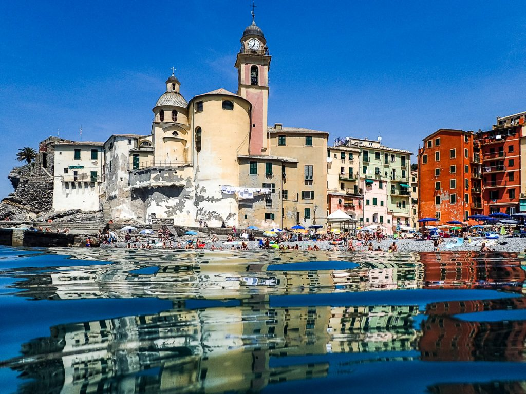 Camogli Church reflections in the water