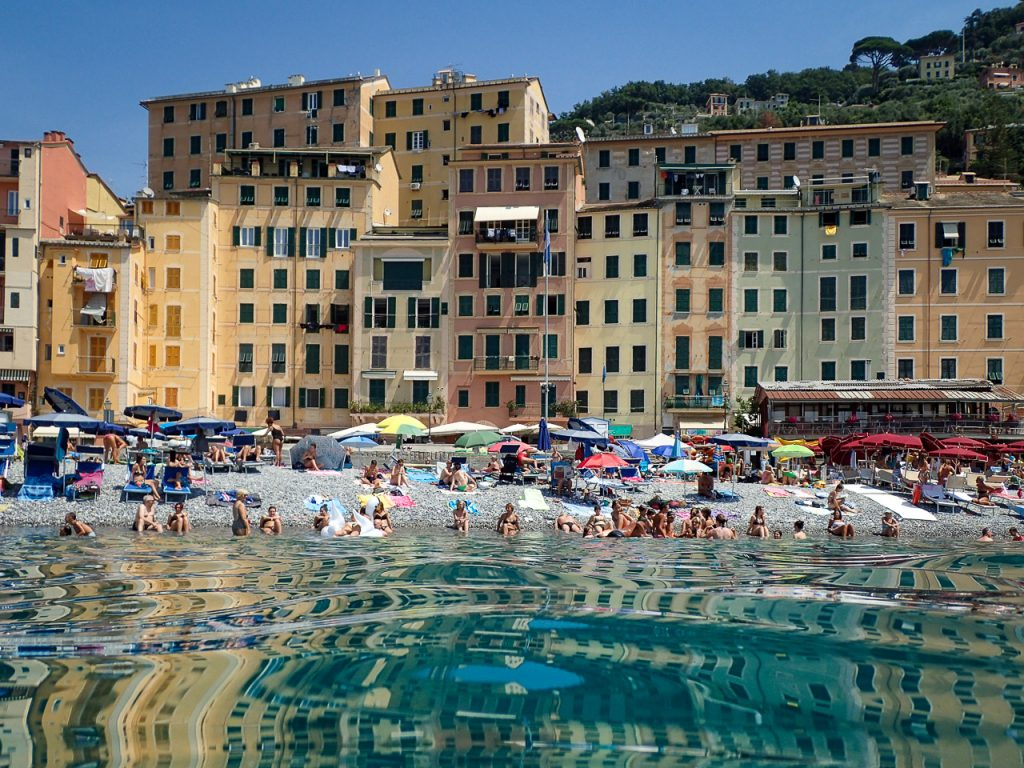 Camogli Houses reflections in the water