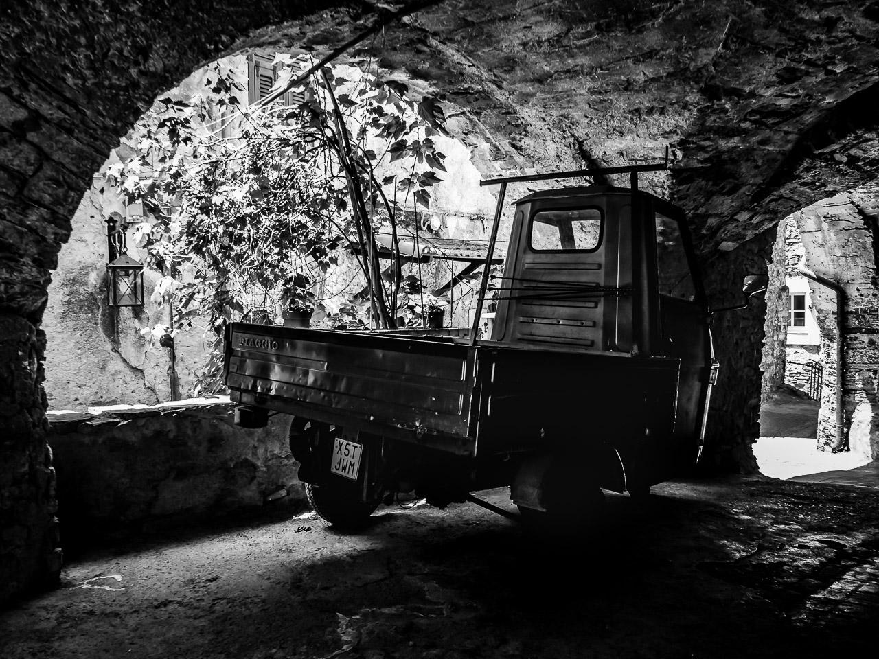 Piaggio Ape parked in Montalto Ligure
