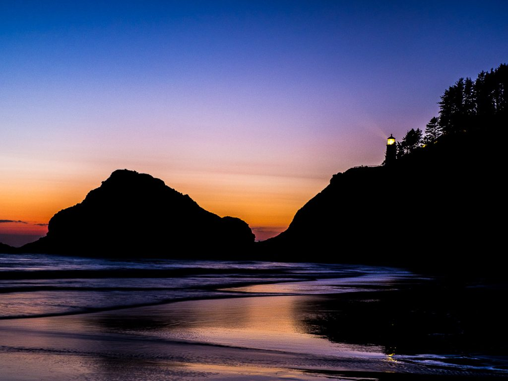 Heceta Head Lighthouse on the Oregon Coast at dusk