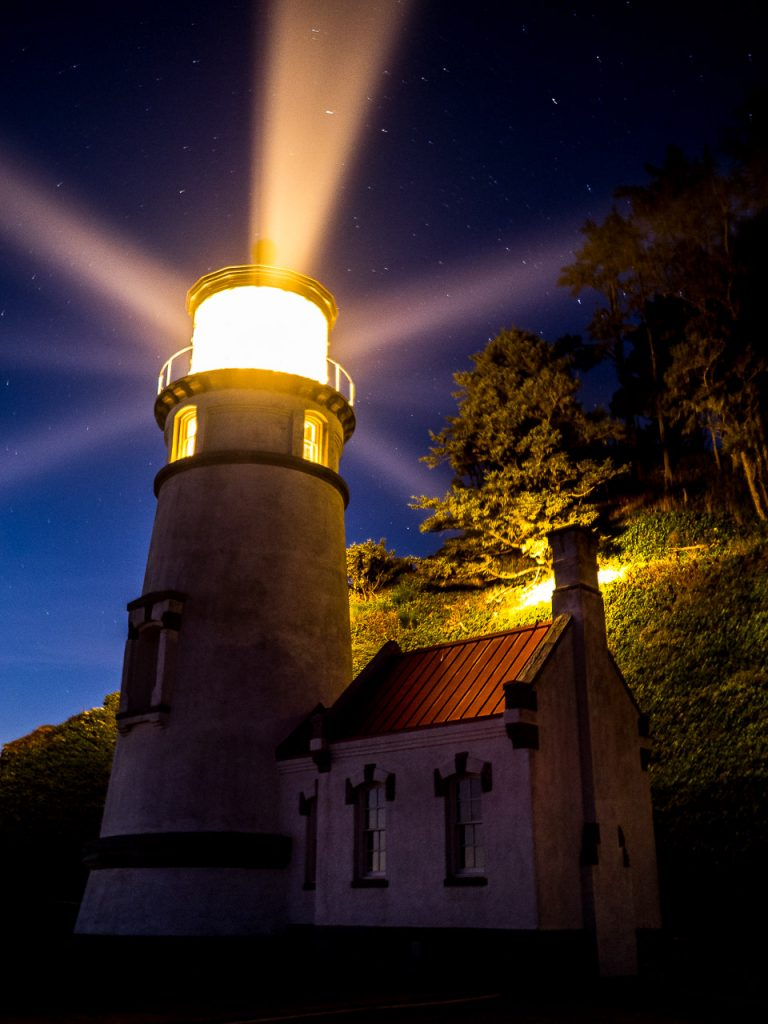 eceta Head Lighthouse on the Oregon Coast at night