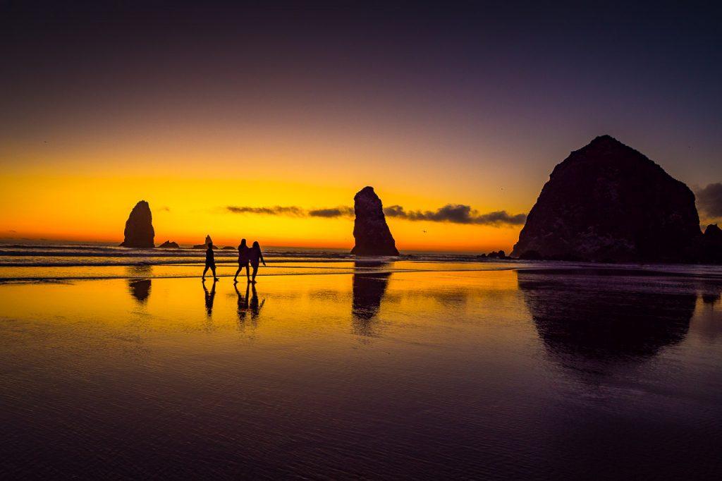 Sunset walk at Cannon Beach