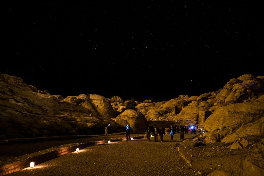 The Siq in ancient Petra, Jordan,illuminated at night.