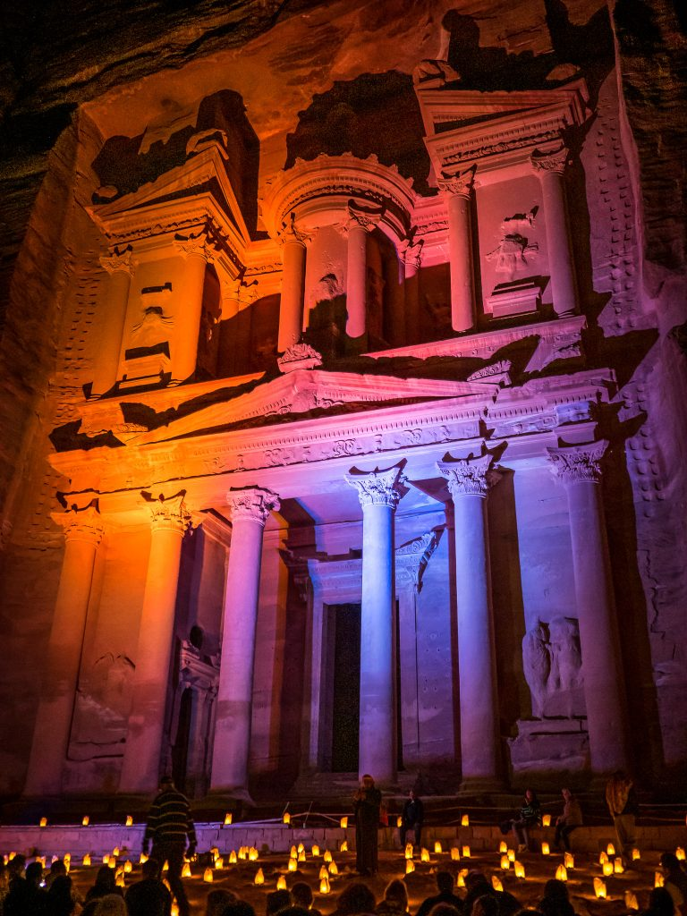 Al-Khazneh - the Treasury - in ancient Petra, Jordan,illuminated at night.