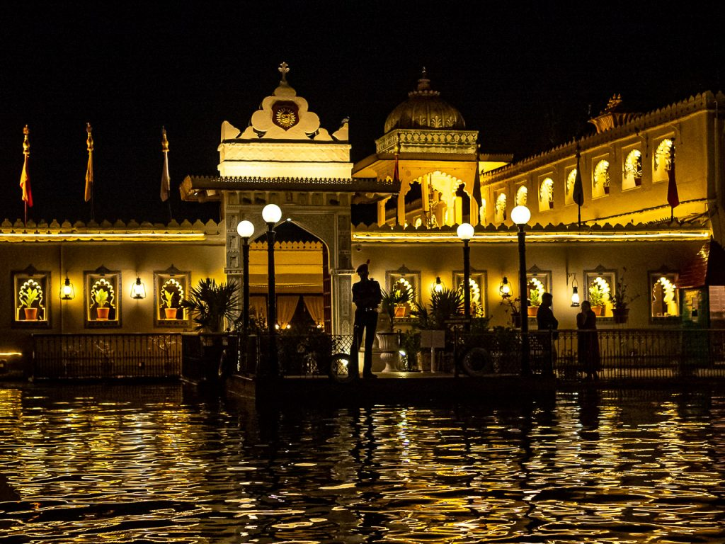 Boat landing of Jag Mandir Palce Udaipur by Night