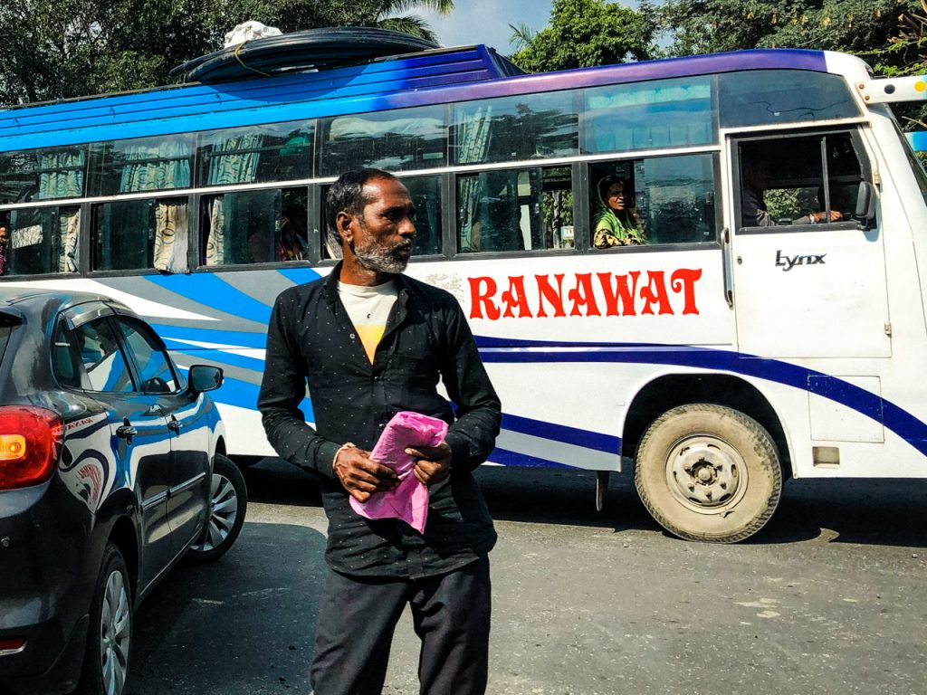 Man standing on a intersection in Udaipur