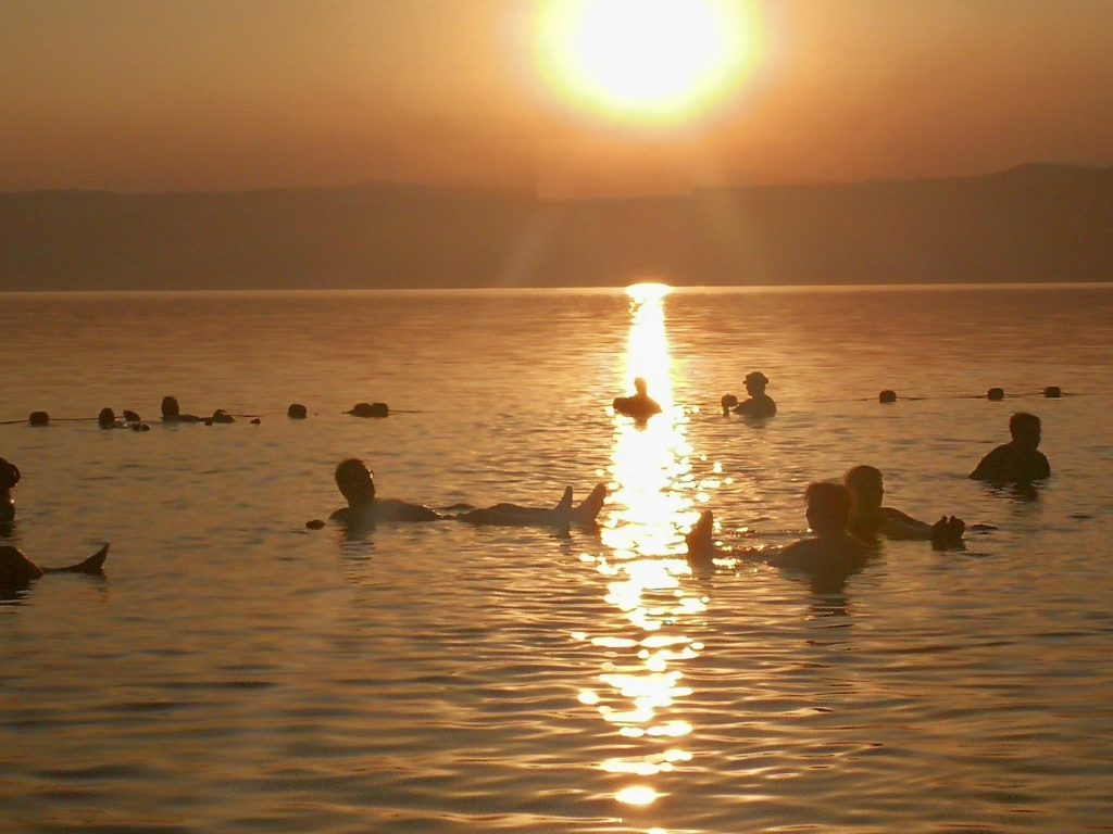 Sunset swim in the Dead Sea on the Jordan Shore