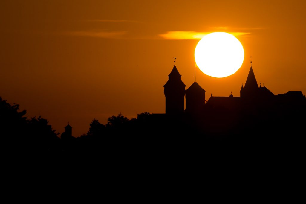Nuremberg Imperial Castle in front of the setting sun