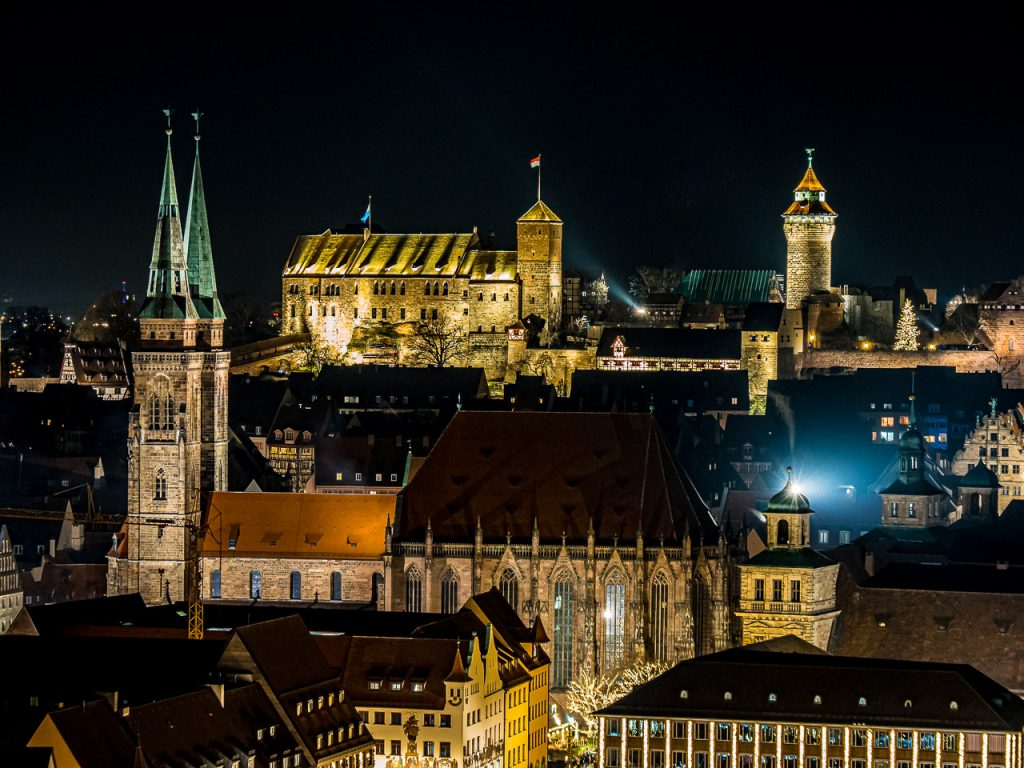 Nuremberg Old Town Night Panorama