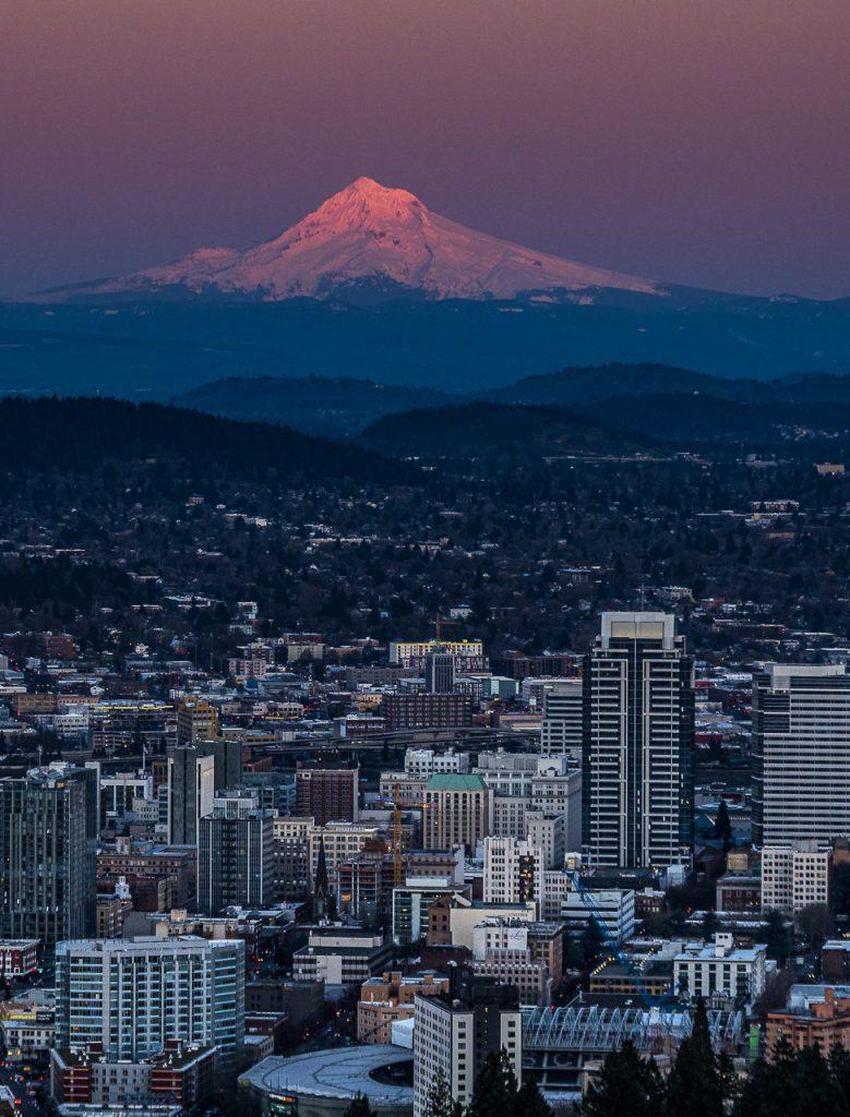 Portland - Mt. Hood glowing at sunset
